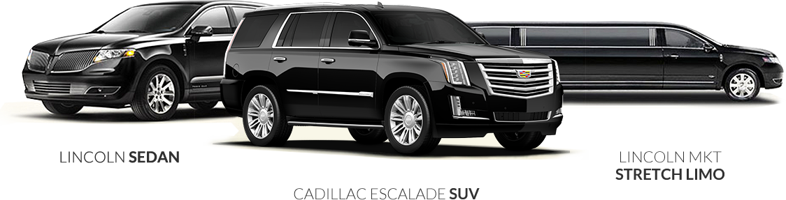 Lincoln Sedan, Cadillac Escallade SUV and Lincoln MKT Stretch limo on display