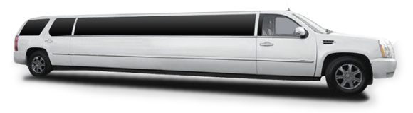 Side view of white Cadillac Escalade super stretch limousine